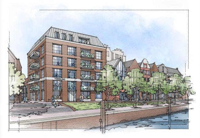 Het architectencollectief ontwerpt de zevental stadswoningen aan de rechterzijde van appartementencomplex 'De Tweeling'