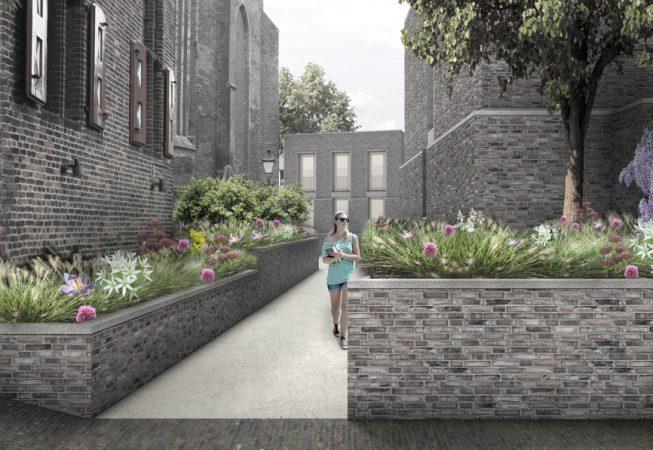 Doorloop vanaf de Krabbestraat richting de publieke binnentuin
